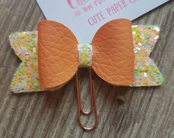Small Peach and Yellow Glitter 3D Bow