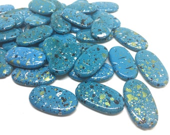 Blue Painted Beads, Surf Collection, 30mm Beads, Rectangle Beads, Oval Beads, Bangle Beads, Bracelet Beads, necklace beads, blue bangle