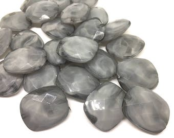 Creamy Gray Beads, Oval Faceted 31mm acrylic beads, chunky necklace, craft supplies, wire bangle beads, jewelry making, gray jewelry