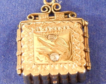 1890s Engraved EDWARDIAN Ornate 14K Rolled-Gold Book-Style Pendant Locket with Stone-Studded Face