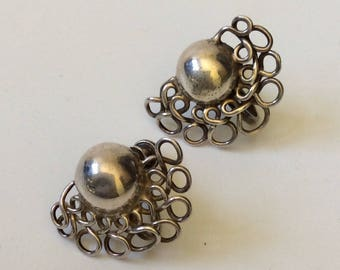 "William Spratling Taxco Sterling Silver ""Lace Moons"" Earrings, c 1940s"
