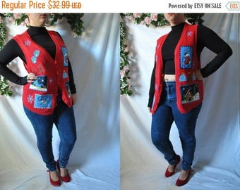 SALE Vintage 90s Tacky Christmas Sweater Vest Ugly Christmas Party Quirky Holiday Vest Knit Christmas Sweater Vintage Ugly Eccentric Xmas Ve