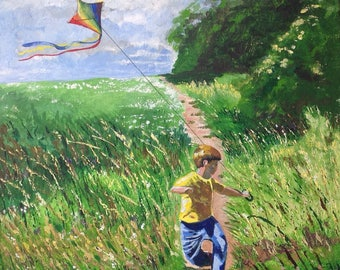 Original Acrylic Painting -Boy flying Kite in Summer Meadow -on box canvas