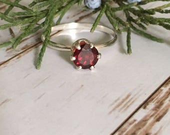 Garnet Solitaire Ring - Size 7.5
