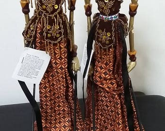 Vintage wooden Indonesian shadow figures, wayang puppets, theatre, drama