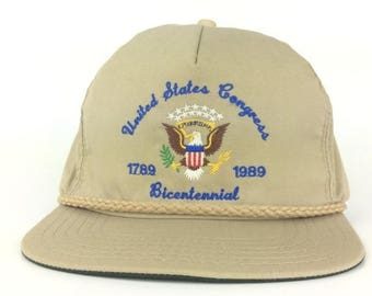 On Sale Now Vintage 80s United States Congress  1789 - 1989 Bicentennial Hat Cap Fits Most Made In USA