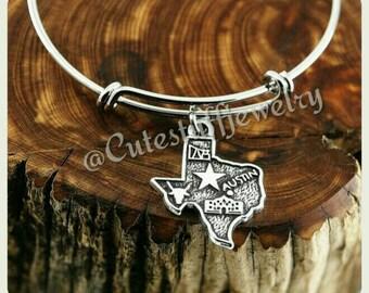 Texas Girl Bracelet, Texan Bracelet, State of Texas Bracelet, State of Texas Bangle, Handmade TX Bracelet, TX Bangle, Handmade Texas Jewelry