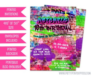 Girl Graffiti Birthday Invitations -  Pink Hip Hop Birthday Invitation - Girl Rap Birthday Invitations - Purple Graffiti Invite - Teen Girl