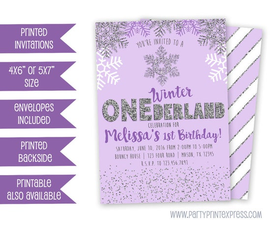 Purple Winter ONEderland Invitation Winter Wonderland Invitation