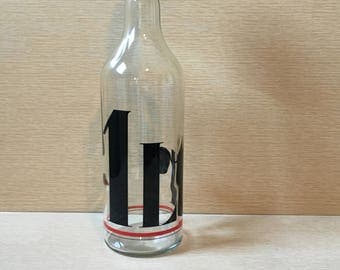 "Vintage Glass Bottle with ""1 Ltr"" Black and Red Graphic"