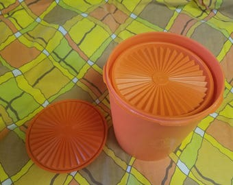 Vintage Tupperware Orange Canisters, Set of 3
