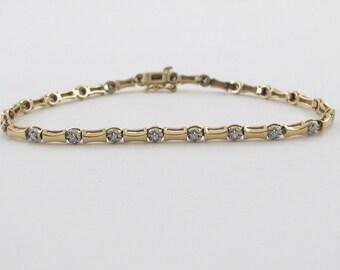 "14k Yellow Gold Bone Style Diamond Tennis Bracelet 7 1/4"""