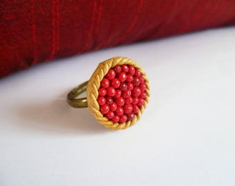 Delicious polymer clay tart with berries - ring