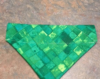 Green Patches Bandana, Over the Collar Dog Bandana, Girl Dog Bandana, Dog Bandana, Puppy Bandana