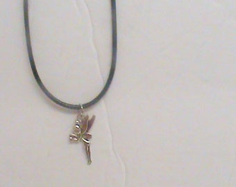 Black and silver fairy necklace