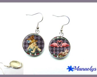 "Earrings ""Alice in Wonderland country"", flamingos, 2977 glass cabochons"