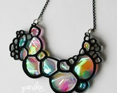 PANIKA Black Abstract Soap bubble foam statement magic necklace