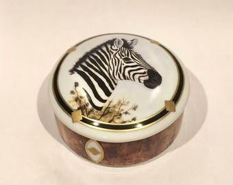 Lynn Chase Zebra Trinket Box, African Portraits Zebra Porcelain Box, Lynn Chase Porcelain Box, African Animals