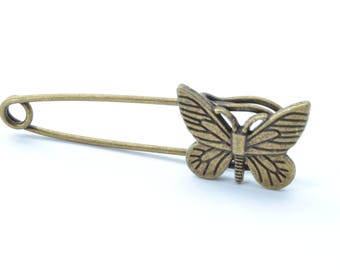 Support antique bronze Butterfly brooch pin