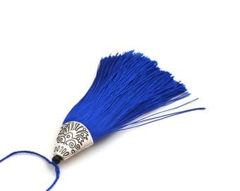 Blue tassel with Silver Cup 8 cm