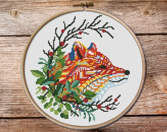 Red foxe cross stitch, fox cross stitch pattern, fox in wreath cross stitch, counted cross stitch, cross stitch pattern, modern cross stitch