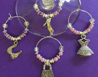 Set of 4 pretty girlie wine glass charms