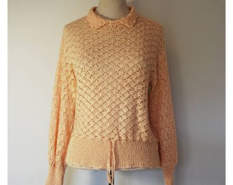 Vintage Cream Crotchet Jumper/Sweater, Size 10.