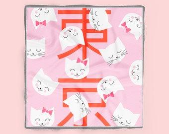 Kawaii Kitty Silk Neckerchief // Square neckerchief scarf