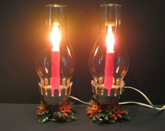 Vintage Christmas Electric Candles - Christmas Hurricane Lamps  -  Set of 2