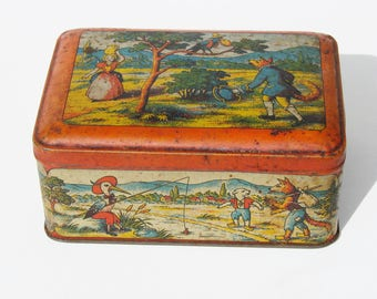 French vintage fabulous tin biscuit box