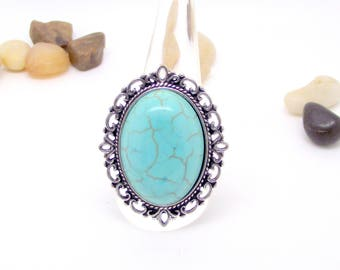 Adjustable silver ring turquoise imitation