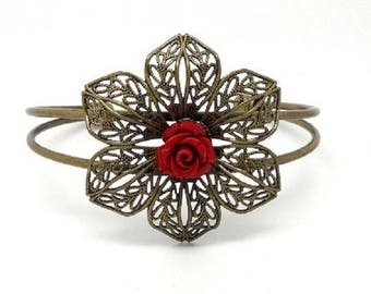 Rigid fashion bracelet Bangle, bronze, flower and red flower