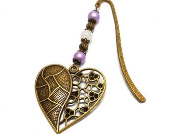 Bookmark bronze jewelry, heart, purple and white beads