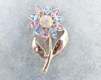 Vintage Flower brooch blue pink and clear rhinestones AB562