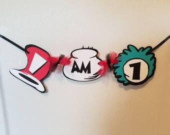 Dr. Seuss I am 1 Banner, Dr. Seuss Birthday Decorations. Cat in the hat. Thing 1 thing 2
