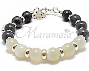 Moonstone and Larvikite Sterling Silver Bracelet, Valentines Bracelet, Gifts for Her, mother's day bracelet