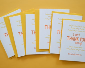 Funny Thank You Card. Letterpress Greeting Cards. Boxed Set of 6.