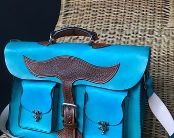 Handmade Turquoise Leather Satchel Bag - Leather Satchel - Handmade Leather Handbag