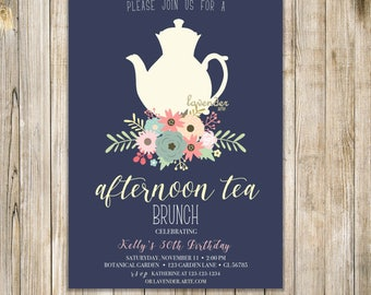Navy AFTERNOON TEA INVITATION, Woman 30th Birthday Tea Party Invite, Shabby Chic High Tea Invites, Floral Tea Party, Women Birthday Brunch