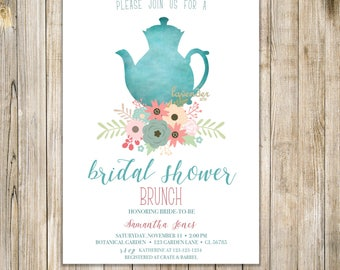 Fall BRIDAL SHOWER TEA Party Invitation, Bridal Tea Party Invites, Autumn Bridal Shower Tea Invite, Floral Bridal Brunch, Engagement Party