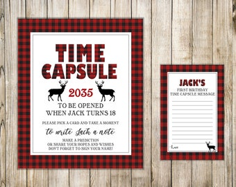WOODLAND First Birthday TIME CAPSULE, Time Capsule Sign & Card, Deer 1st Birthday Time Capsule, Buffalo Plaid, Lumberjack Baby Shower Wishes