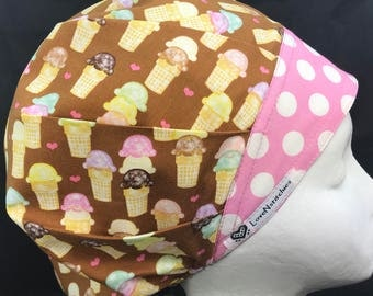 Ice Cream Surgical Cap for Women Scrub Hat Surgeon Bouffant Medical Caps CRNA Tech Nurse Blue Pink Sprinkles LoveNstitchies
