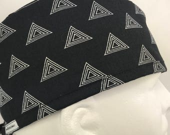Black Geometric Mens Fitted surgical cap surgeon's hat Fitted scrub caps scrub hats for Men OR Surgery Man LoveNstitchies surgeon caps Geo