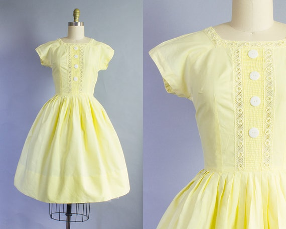 1950s Yellow Cotton Day Dress | Extra Small (34B/24W)