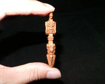 Exquisite Nepal Tibet Gilt Copper 3-Feaced Hayagriva Phurba Talisman Pendant