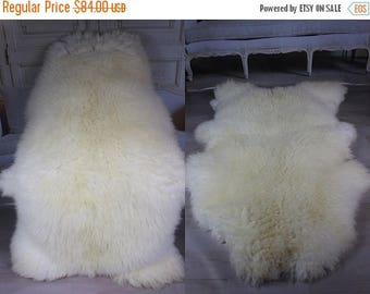 ON SALE WOW! Genuine Natural rare Sheepskin Rug, Pelt, soft long fur Xxxxl Extra Large - creamy white
