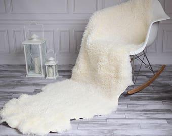 Double Gotland Sheepskin Rug | Long rug | Shaggy Rug | Chair Cover | Runner Rug | Brown Rug | Curly sheepskin rug