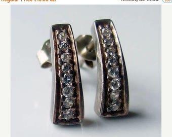 10% SALE - Vintage 925 Sterling Silver Cubic Zirconia Stud Earrings