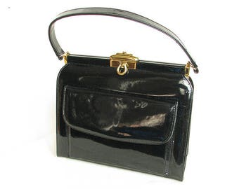 Vintage 1950s Black Patent Leather Handbag MASTERCRAFT Genuine Leather