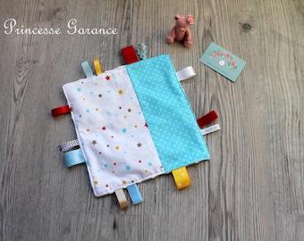 Doudou labels, Montessori, cotton, stars, dots, minky dot white on order